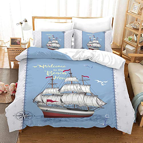 Duvet Cover Set -Sailing Ship On Blue Sea - 3 Pieces Printed Bedding Quilt Cover with Zipper Closure Students for Bedding Decor, Ultra Soft Microfiber Comes with 2 Pillowcases 78.7 X 78.7 inch
