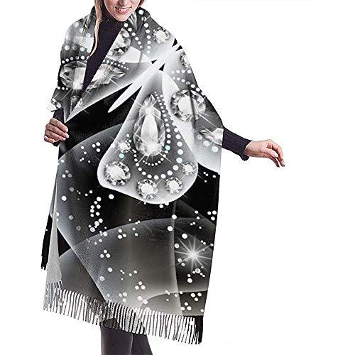 Bufanda Bufanda de mujer Diamante Mariposa Pintura Borla clásica Bufanda a cuadros Bufanda cálida de otoño e invierno