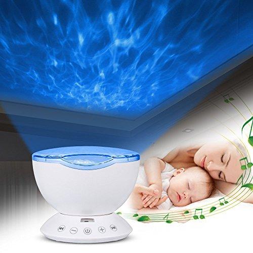 Topist Ocean - Proyector de luz nocturna con mando a distancia, diseño de océano, lámpara nocturna con 12 ledes, MP3 integrado, altavoz, 7 modos de luz multicolor