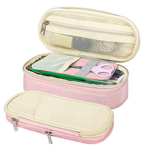 MoKo Large Capacity Pencil Pen Case, Big Capacity Storage Bag Pouch Holder Box, Stationery Organizer with Zippers for Office/School - Beige & Pink