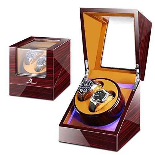 Big seller Uhrenbeweger Doppel Automatik Uhrenbeweger Box Holz Luxus Aufbewahrungskoffer für 2 Armbanduhren, 5 Rotationsmodi und leisen Motor, LED Umgebungslicht, Geschenk (Color : C)