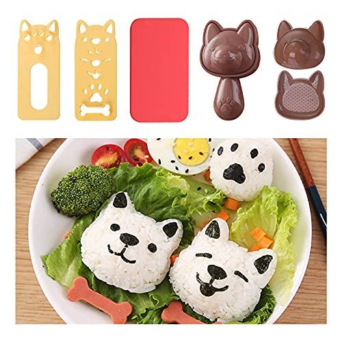 Reisbällchen-Formen-Set Onigiri Form für Reisbällchen Nette Katzen Hundeform Sushi Maker Form Reisball Bento Pressen Form Antihaft-Silikonmatte Sushi Shaper Kit für DIY Bento Nori Sandwich Hundeform
