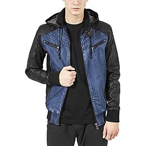 Urban Classics Men's Hooded Denim Leather Jacket