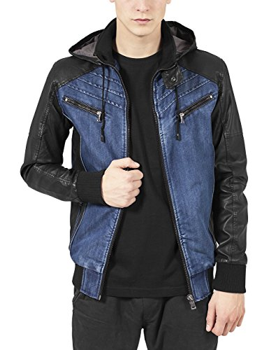 Urban Classics Hooded Leather Jacket Chaqueta, Multicolor (Denim/Black 552), L para Hombre
