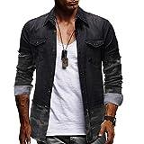 Camisa de Vaquero de Manga Larga para Hombre Decorada con Camisas de Camuflaje Europeas y Americanas XXXL Negro