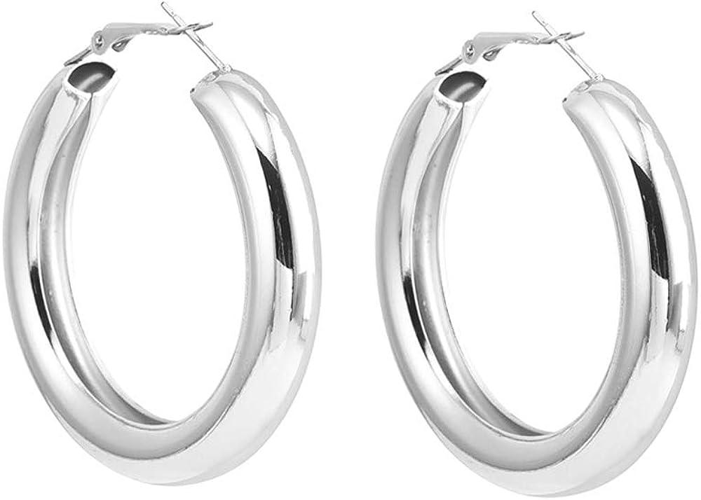 YOOE Gold Geometric Circle Large Hoop Earring. Punk Metal OL Style Big Earrings, Vintage O Shaped Stud Earring Polished Round Tube Hoop Earrings