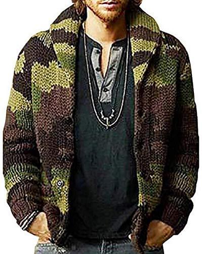 Chaqueta de punto de los hombres de manga larga chal cuello de camuflaje estampado botón frente suéter abrigo
