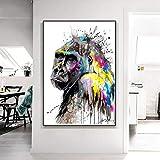 DCLZYF Abstracto Street Graffiti Art Monkey Gorilla Lienzo Pinturas Arte de la Pared Carteles e Impresiones de Animales Imagen Decoración del hogar-60x90cm (sin Marco)