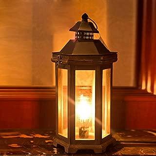 JinYuZe Retro Wooden Table Light,E12 Candle Style 1-Light Desk Lamp Plug-in Table Lantern Lamp for Bedroom,Farmhouse,Study Room,Aisle