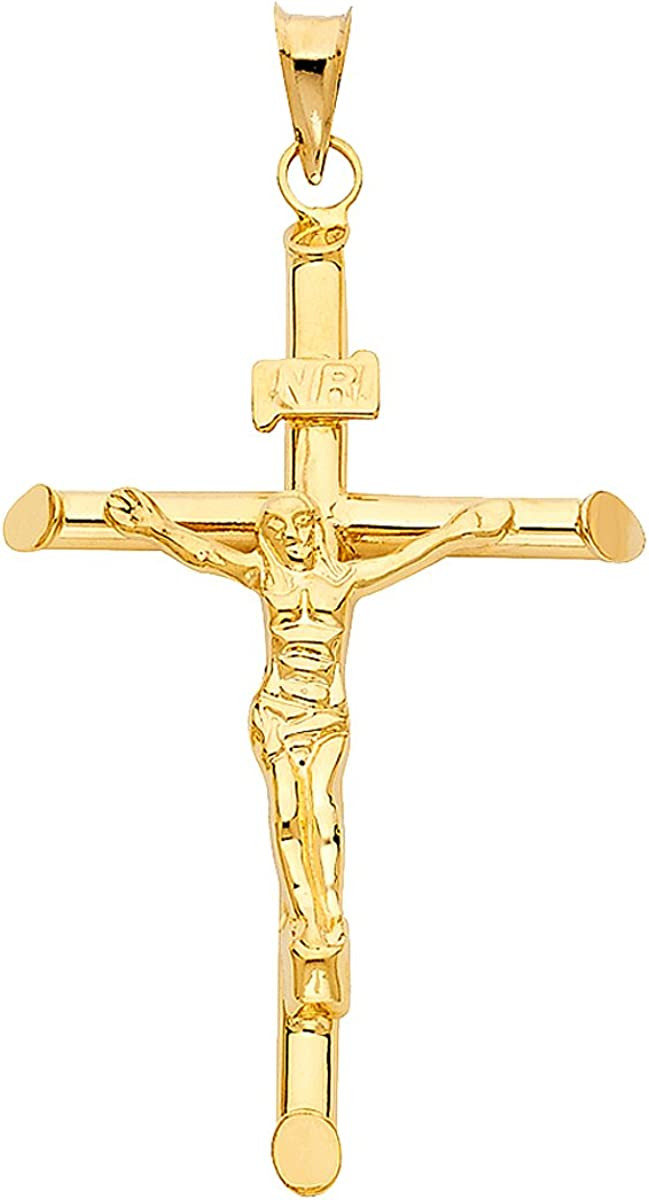 Solid 14K Yellow Gold Crucifix Pendant Jesus in Engraved - Cheap super special Popular brand price Tubul