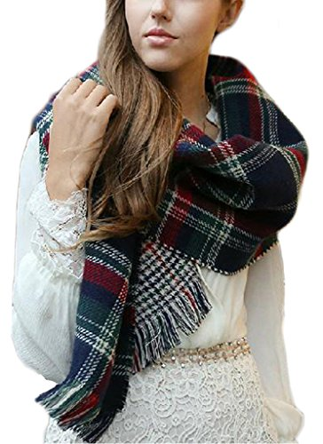 Minetom Damen Oversized Winter Mode Plaid Muster Schal Houndstooth Reversibel Schal Kap Poncho Marine One Size
