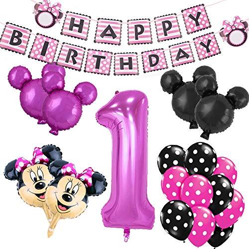 REYOK Minnie Mouse Themed Geburtstag Dekorationen, Minnie Mickey 1st Birthday schwarz rot Mickey Luftballons, Happy Birthday Banner, Folienballons für Mickey Mouse Themenparty