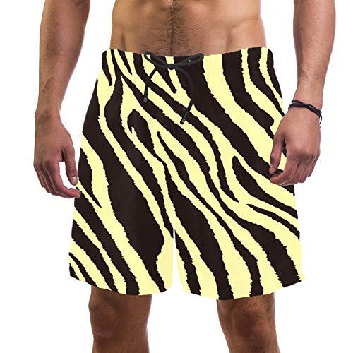 Pantalones cortos de playa de surf para hombre de secado rápido con textura de cebra de bolsillo