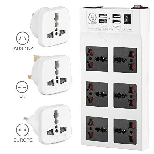Yubi Power Power Strip w/ 6 Universal Sockets & 4 USB Ports - 100v - 220v / 250v - Surge Protection - Circuit Breaker + 3 Travel Adapter Plugs - Type B/C/G/I