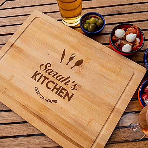 Personalised Chopping Board | Cheese Board | Cutting Board, Ideal Present for Mothers Day, Fathers Day, Christmas Gift, House Warming, Birthday Ideas for Him or Her - Choose Your Name of Kitchen