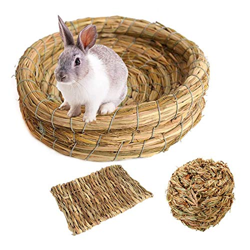 Tfwadmx Rabbit Grass Bed Bunny Mat Chew Toys Woven Grass Ball Hay Mat for Hamster Chinchillas Guinea...