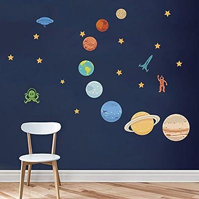 """Elementos: incluidos 8 planetas, estrellas, OVNIS, cohetes, monstruos, astronautas, etc., como si estuvieran en el espacio exterior. Viene en 2 hojas, tamaño de hoja: 30cm × 90cm (11.8"""" × 35.4""""). Se puede pegar a cualquier superficie lisa: paredes, m..."""