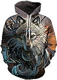 Pandolah Men's Athletic 3D Animal Cosmic Galaxy Printed Hoodies Sweatshirts Pullover(King Wolf-b,Small/Medium)