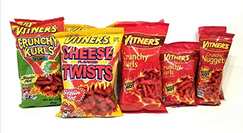 VITNER'S 10 Pack SIZZLIN' HOT Crunchy Curls, Nuggets, Puffs Variety Combo