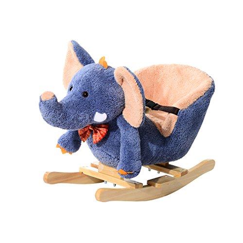 homcom Cavallo a Dondolo in Legno Elefante per i Bambini 60 x 33 x 45cm