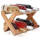 Estante de bambú para Vino, Plegable, de pie y sobre encimera, Estante de Almacenamiento de Vino, Estante de exhibición de 2 Niveles, Almacenamiento doméstico (Natural, 6 Botellas)