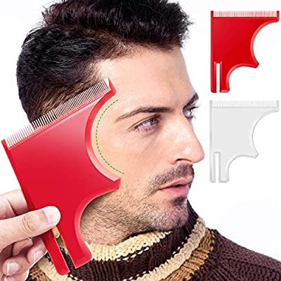 2 Pieces Beard Guide Shaping Template Tools Mustache Lineup Edge Stencil Hairline Hair Cutting Beard Shaper Trimming Styling Curving Goatee with Inbuilt Combs for Men