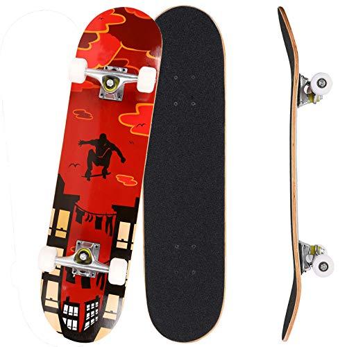 Bunao Skateboard Komplettboard 31 x 8 Zoll mit ABEC-7 Kugellager 9-lagigem Ahornholz für Kinder Jungendliche und Erwachsene, Belastung 100kg