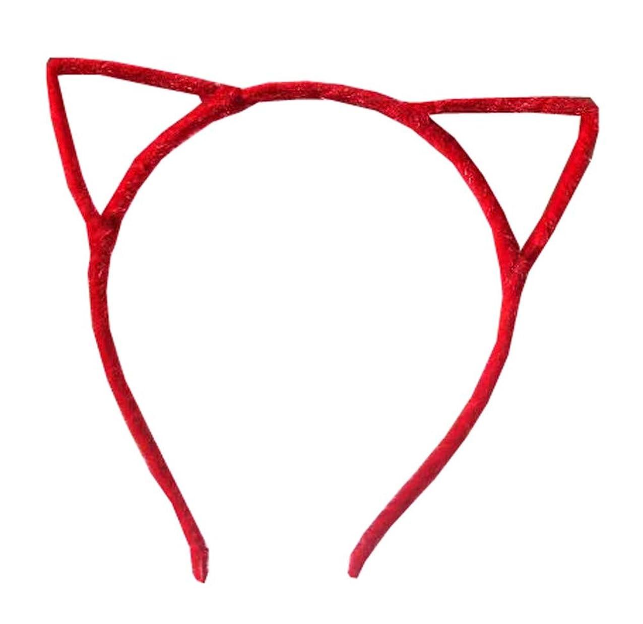 再集計スケルトン冷える猫の耳のヘッドバンド髪のフープヘアバンドメイクアップヘッドウェアファッションヘッドバンド - E