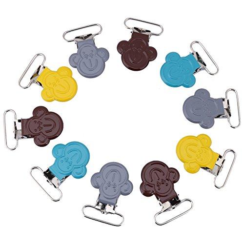 10 stuks metalen bretelclips, 25 mm kleurrijke mini AFFE gevormde bretels fopspeen houder bib clip riem gesp DIY maken leveringen