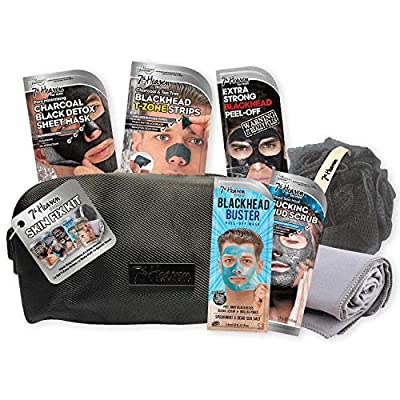 7th Heaven Men's Skin Fix Gift Set with 4 Face Masks and 1 Set of T-Zone Pore Strips - Includes Black Wash Bag, Exfoliating Body Puff and Grey Sports Towel by Montagne Jeunesse