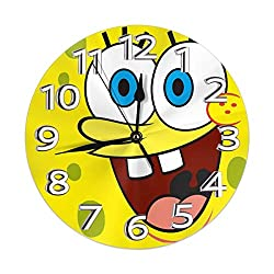 JIEKEME Decorative Wall Clock Sponge_bob Square_Pants Silent Non-Ticking Digital Clock Battery Operated Round Easy to Read Home/Office/School Clock