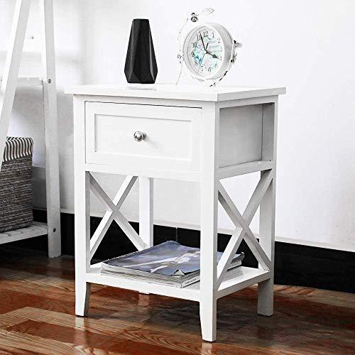 EXQUI Nachttisch mit Ablage und Schublade Weiß Nachtschrank Nachtschränkchen für Schlafzimmer Beistelltisch Kleiner Konsolentisch für Wohnzimmer, 40x30x52cm, G971W