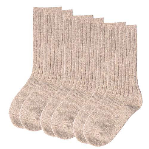 Aibrou Socken Kinder Wolle Winter Warm Kindersocken Strümpfe Knie Hoch mit Komfortbund Unisex 3er Pack Aprikose-Alter 4-5