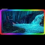 Tappetini per il Mouse Da Gioco RGB Anime Girl Blue Sky Waterfall Pad Tastiera A LED 14 Modalità Di Illuminazione Per Scrivania Del Computer 800x300mm