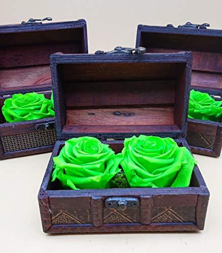 Rosas preservadas Verdes Lima. Cofre de Madera. Rosas eternas Verde Lima. Musgo preservado. Rosas Verdes eternas. Hecho en España.