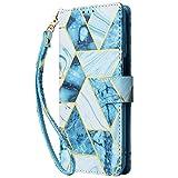 Blllue Funda De La Cartera Compatible Con Huawei Mate 10, Cubierta Del Teléfono De La Cartera De Cuero De La PU De Mármol Dorado Para Mate 10 - Azul