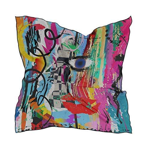 Sciarpe di moda femminile, Composizione di sfondo astratto Colpi di vernice Schizzi di seta quadrata Sciarpa per capelli avvolgente Foulard 23.62'x23.62