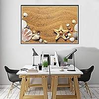 ビーチシェルポスターキャンバスプリント絵画壁アートリビングルームの家の装飾60X80cm24x32inchフレームなし