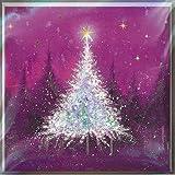 Boîte de 12 cartes de Noël artistiques (MED-XMLA0009) – Cartes attrayantes de Medici – Sapins de Noël scintillants, violets et bleus – 12 cartes, 6 cartes de chacun des 2 motifs
