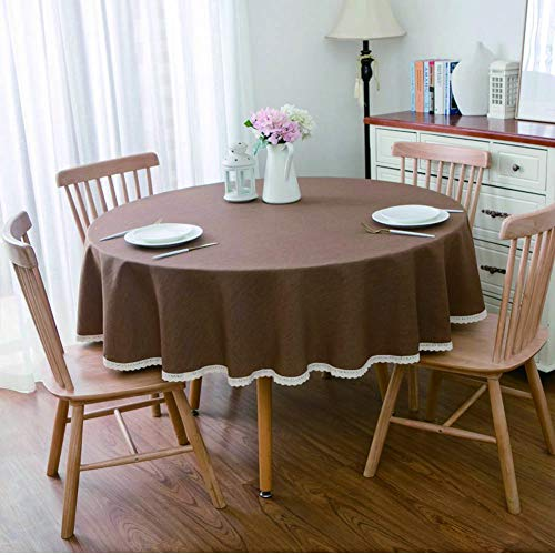 Table Cloth, Round Cotton Linen, Wrinkle-free, Stain-proof, Machine Washable, Used for Dining Table, Coffee Table and Furniture Decoration. (Coffee,Diameter 140cm)