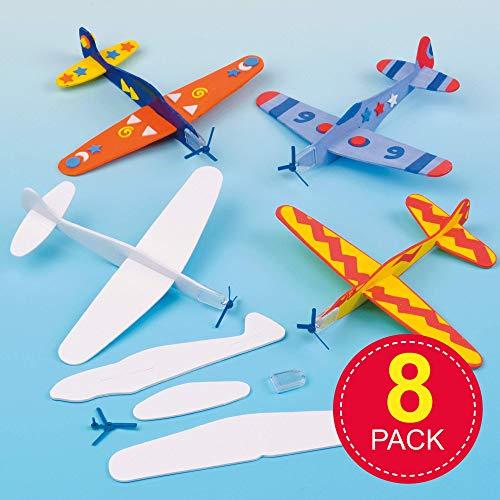 Baker Ross EV1813 glijvliegtuig om te spelen voor kinderen – met viltstiften of knutselkleuren beschilderd – als prijs en cadeautje voor kinderverjaardag (8 stuks), gesorteerd