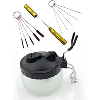EBEST 4 Set Airbrush Spray Gun Wash Cleaning Tools Needle Nozzle Brush Glass Cleaning Pot Holder