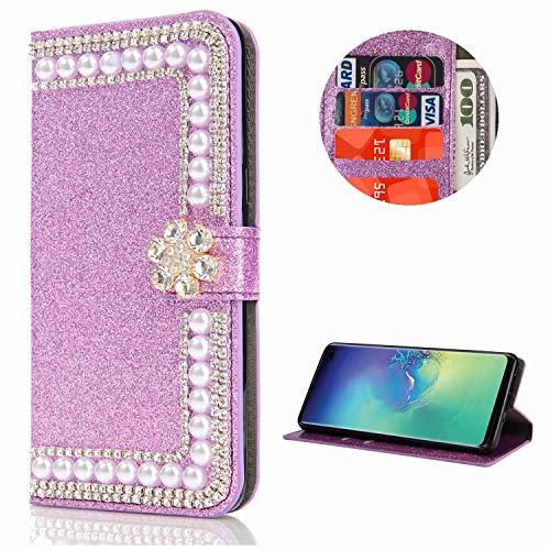Miagon Hülle Glitzer für Samsung Galaxy A71,Diamant Strass Perle Blume PU Leder Handyhülle Ständer Funktion Schutzhülle Brieftasche Cover,Lila