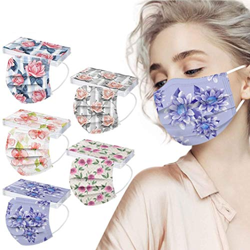 POTTOA 50pcs Floral Disposable Face_mask. with Designs for Women Girls Adults Cute Colored Paper_Face_mask for Coronɑvịrus Protection Breathable 3 Layers with Nose Wire for Outdoor (50, 5 Color #1)