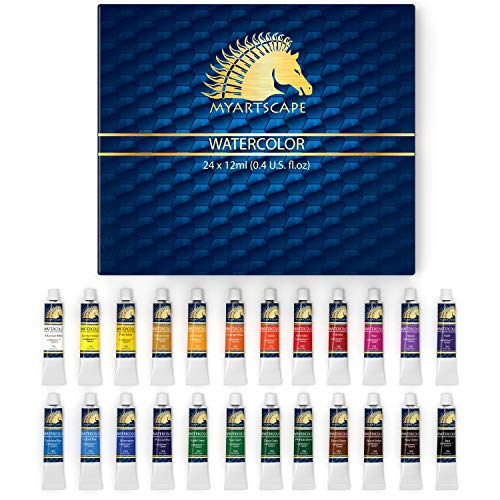 Watercolor Paint Set - Artist Quality Paints - 24 x 12ml Vibrant Colors - Rich Pigments - Professional Supplies by MyArtscape