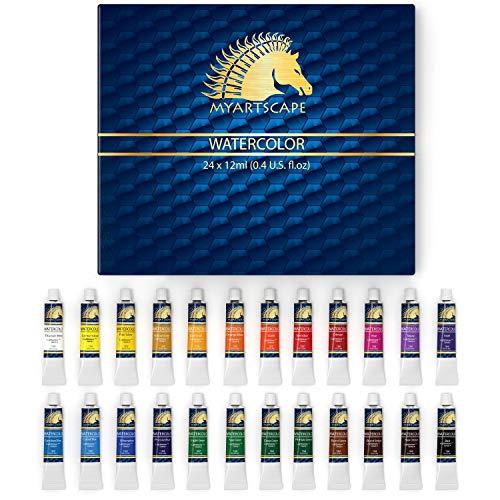 Watercolor Paint Set - 24 x 12ml Tubes - Lightfast - Vibrant Colors - Excellent Transparency - Kit for Vivid Watercolors Painting - Professional Artist Paint Supplies by MyArtscape