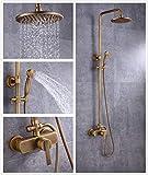 Solepearl Grifo de Ducha Vintage Columna Ducha Sistema de Ducha Incluye Cabezal de Ducha de Lluvia Grifo de Ducha Barra de Ducha 850-120mm