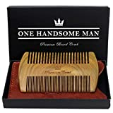 Beard Comb Kit by One Handsome Man - Sandalwood Beard Comb with PU Leather Case and Gift Box - Perfect Gifts For Him or Boyfriend Gifts - Ideal Valentines Day Gifts For Him