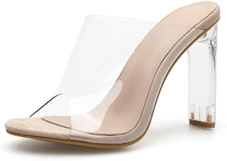 MEIZOKEN Women's Clear Chunky Heel Sandals Peep Toe Slip On Mule shoes High Heel Dress Pump Slippers