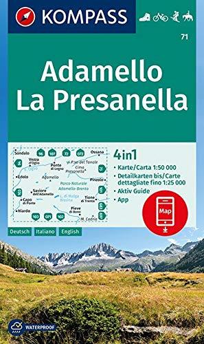 KOMPASS Wanderkarte Adamello, La Presanella: 4in1 Wanderkarte 1:50000 mit Aktiv Guide und Detailkarten inklusive Karte zur offline Verwendung in der ... Reiten. (KOMPASS-Wanderkarten, Band 71)